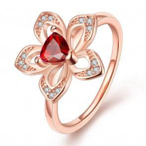 Дамски пръстен с червен кристал циркон и 18 карата розово златно покритие. Код: PS124.