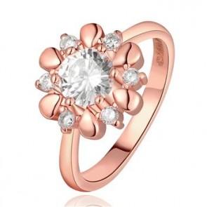 Дамски пръстен с австрийски кристали CZ Циркон и розово златно покритие