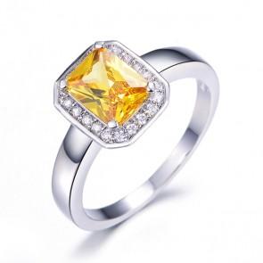 Дамски пръстен с жълт кристал CZ Циркон и бяло златно покритие