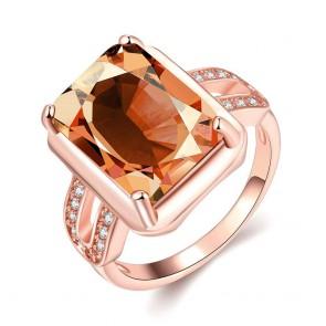 Дамски пръстен с оранжев циркон и розово златно покритие