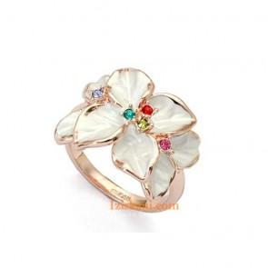 """Дамски пръстен """"Цветна Прелест"""" с цветни австрийски камъни и розово златно покритие"""