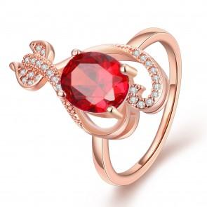 """Дамски пръстен """"Венера"""" с червен кристал CZ Циркон и 18карата розово златно златно покритие. Код: PS110."""