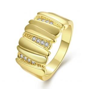 """Дамски пръстен """"Вирджиния"""" с бял циркон и жълто златно покритие"""