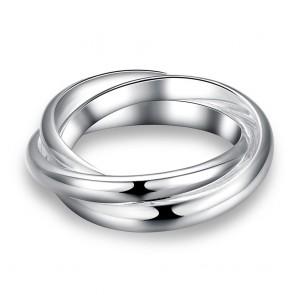 """Изискан дамски пръстен """"Вплетени Халки"""" със сребърно покритие"""