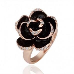 """Дамски пръстен """"Златна Роза"""" с австрийски кристали и розово златно покритие"""