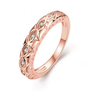 """Дамски пръстен """"Звезден Път"""" с бял циркон и розово златно покритие"""