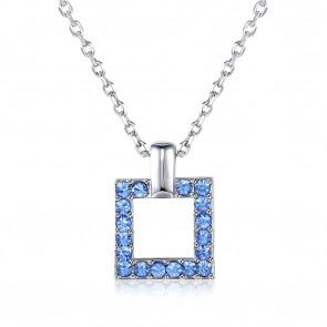 """Дамско колие """"Анжела"""" със сини австрийски кристали и платинено покритие"""