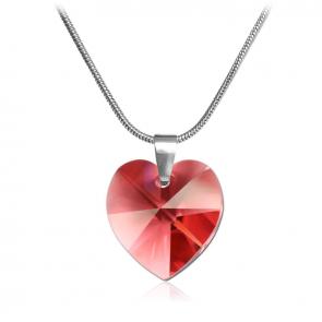 Дамско колие във форма на сърце с червен кристал Сваровски