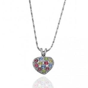 """Дамско колие """"Нежно Сърце"""" с многоцветни австрийски камъни"""