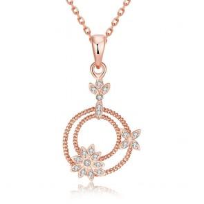 """Дамско колие """"Синтия"""" с бели циркониеви кристали и розово златно покритие"""