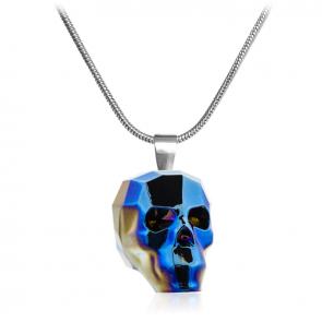 Дамско колие с череп от син кристал Сваровски