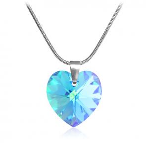 """Дамско колие """"Сърце Aqua Blue"""" със син кристал Сваровски"""