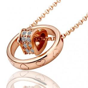 """Дамско колие """"Златно Сърце"""" с австрийски кристали и златно покритие"""