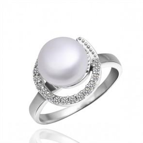 Дамски пръстен с перла и златно покритие