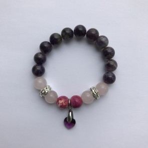 Гривна с аметист, мукаит, розов кварц и лилав кристал Сваровски