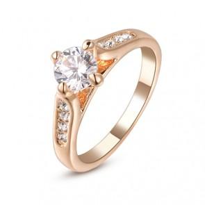 Стилен дамски пръстен с 18K златно покритие, австрийски кристали и CZ Циркон
