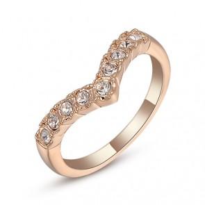 """Дамски пръстен """"Завинаги с Теб"""" с бели кристали и златно покритие"""