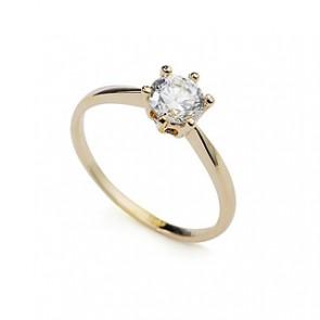 """Дамски пръстен """"Любовна хипноза"""" със златно покритие и бял кристал циркон"""