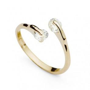 """Дамски пръстен """"Божествена жена"""" с камъни циркон и златно покритие"""