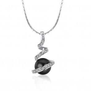 """Колие """"Черна Перла"""" с австрийски кристали и бяло златно покритие"""