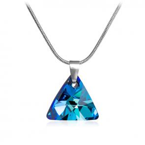 Дамско колие във форма на триъгълник със сини камъни сваровски