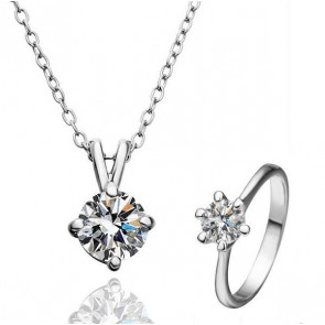 """Комплект дамски бижута """"Агнес"""", колие и пръстен с австрийски кристали и златно покритие"""