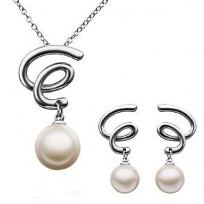 Комплект дамски бижута с перли, колие и обеци с бяло златно покритие