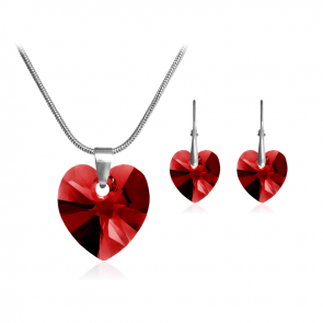 """Комплект дамски бижута, колие и обеци """"Влюбено сърце"""" с червени кристали Сваровски"""