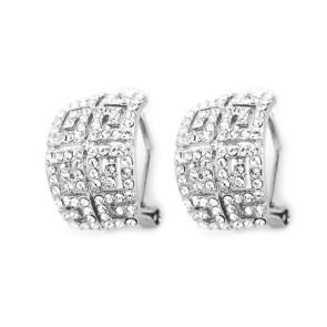 Луксозни дамски обеци с австрийски кристали и бяло златно покритие
