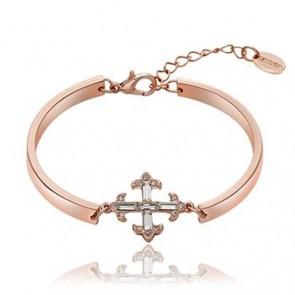 """Дамска гривна """"Кръст"""" с бели австрийски кристали и розово златно покритие."""