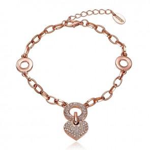 """Дамска гривна """"Истинска Любов"""" с австрийски кристали и розово златно покритие"""