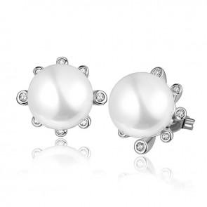 Дамски перлени обеци с бял циркон и бяло златно покритие