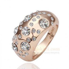 """Дамски пръстен """"Твоята Усмивка"""" с розово златно покритие и бели кристали циркон"""