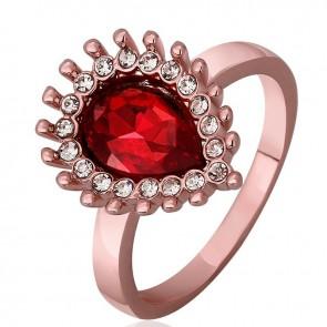 Дамски пръстен с червен австрийски кристал и розово златно покритие
