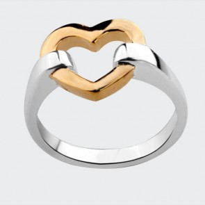 """Дамски пръстен """"Медея"""" във форма на сърце със златист цвят от бижутерийна сплав"""
