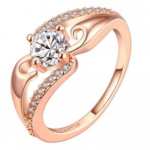 Стилен дамски пръстен с кристали циркон и розово златно покритие