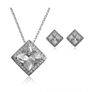 Комплект дамски бижута, колие и обеци с бели блестящи Swiss CZ Кристали и 18 карата бяло златно покритие. Код: SF134