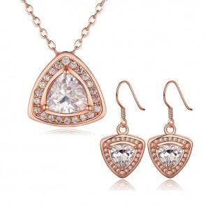 Комплект бижута за дами, колие и обеци с кристали циркон и розово златно покритие