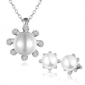 Комплект перлени бижута за дами, колие и обеци с кристали циркон и бяло златно покритие
