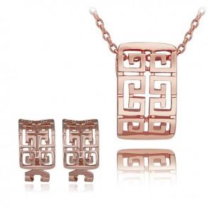 Комплект дамски бижута, колие и обеци с розово златно покритие и бели австрийски кристали