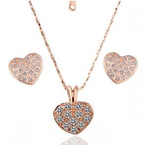 Комплект бижута, колие и обеци сърца с розово златно покритие