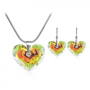 Комплект дамски бижута, колие и обеци с многоцветни кристали Сваровски
