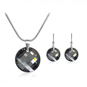 Комплект дамски бижута, колие и обеци с черни кристали Сваровски