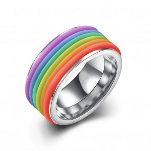 """Стилен пръстен """"Дъга"""" от неръждаема титаниева стомана"""