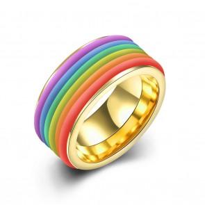 """Стилен пръстен """"Нежна Дъга"""" от титаниева стомана"""