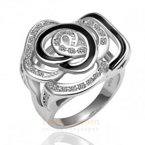 """Дамски пръстен """"Пустинна Роза"""" с бяло златно покритие"""