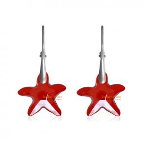"Дамски обеци ""Sea Star"" с червени кристали Сваровски"