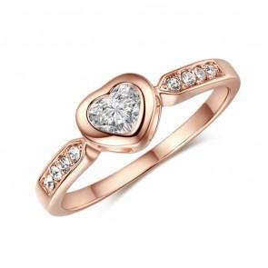 """Дамски пръстен """"Единствена"""" с камъни CZ Циркон и 18K златно покритие"""