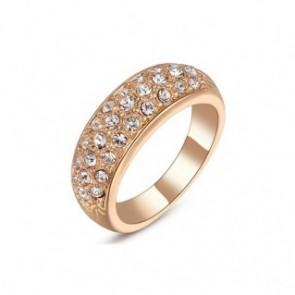 Нежен дамски пръстен с 18К златно покритие и бели австрийски кристали -  Код: PS10