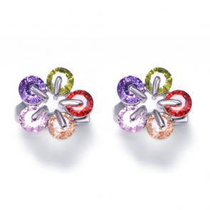 Дамски обеци с многоцветни циркониеви кристали и бяло златно покритие